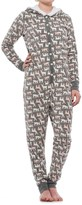 Jane and Bleecker Silver Deer Holiday One-Piece Pajamas - Hooded, Long Sleeve (For Women)