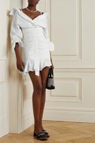 Thumbnail for your product : Alexander Wang Asymmetric Ruched Cotton-poplin Mini Shirt Dress - White