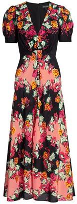 Saloni Lea Floral Silk Maxi Dress