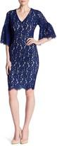 Alexia Admor V-Neck Elbow Sleeve Lace Dress