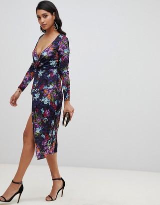 Asos Design DESIGN long sleeve textured wrap midi dress in geo floral print-Multi