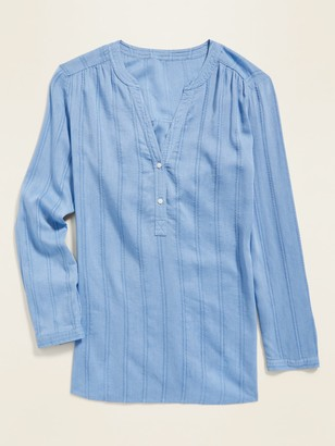 Old Navy Textured Dobby-Stripe Split-Neck Tunic Top for Women