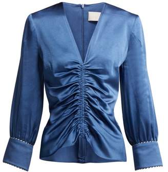 Peter Pilotto Ruched Satin Blouse - Womens - Blue