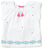 Joules Little Girls 3-6 Talia Embroidered Dot Tassel-Tie Top