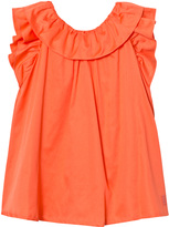 Lili Gaufrette Coral Bow Front Flutter Sleeve Cotton Dress