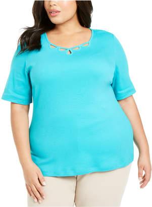 Karen Scott Plus Size Cotton Cutout-Neck T-Shirt