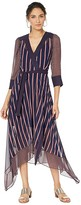 BCBGMAXAZRIA Woven Stripe Wrap Dress (Pacific Blue/Valet Stripe) Women's Dress