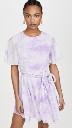 ENGLISH FACTORY Tie Dye Braided Belt Dress