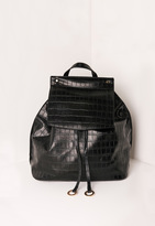 Missguided Croc Circle Trim Backpack Black