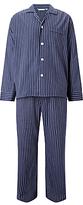 Derek Rose Stripe Brushed Cotton Pyjamas, Navy/red