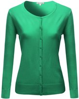 Made by Emma Basic Classic Round Neck Button Up Cardigan Green M