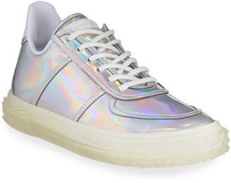 Giuseppe Zanotti Iridescent Leather Lace-Up Sneakers