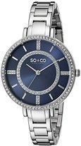 SO&CO New York Women's 5066.2 SoHo Quartz Crystal Accent Blue Dial Stainless Steel Link Bracelet Watch