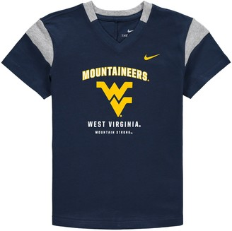 Nike Girls Youth Navy West Virginia Mountaineers Fan V-Neck T-Shirt