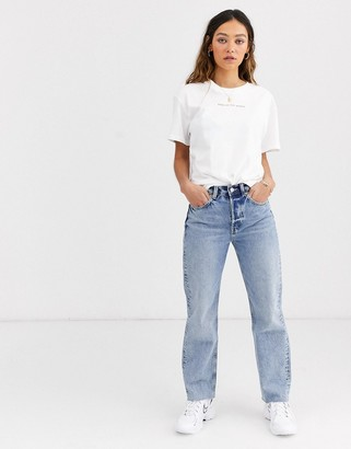 Weekday Alanis This Is My Body slogan t-shirt in white