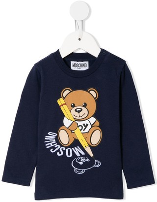 MOSCHINO BAMBINO Teddy Bear Print Long-Sleeve Top