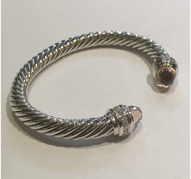David Yurman Cable Classics Sterling Silver with Morganite & 0.48ct Diamonds Bracelet