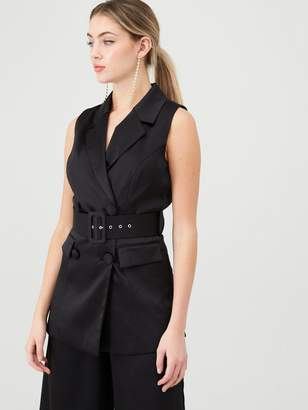 Very Satin Sleeveless Longline Blazer - Black