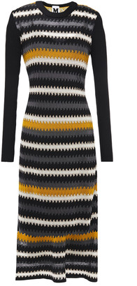 M Missoni Paneled Crochet-knit Wool-blend Midi Dress