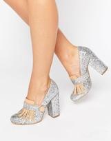 Daisy Street Fringe Glitter Heeled Loafers