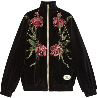 Gucci Chenille jacket with floral patches