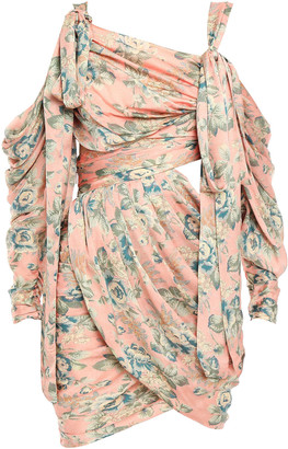 Zimmermann Cold-shoulder Cutout Draped Floral-print Washed-silk Mini Dress