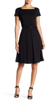 Ellen Tracy Short Sleeve Belted Fit & Flare Dress