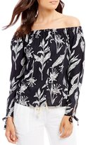 Roxy MS Brightside Printed Off-The-Shoulder Tie-Sleeve Top