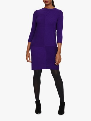 Phase Eight Francesca Rib Knit Dress, Purple