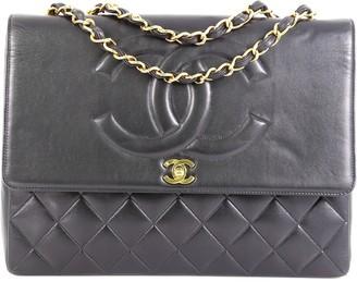 Chanel Vintage CC Flap Shoulder Bag Quilted Lambskin Large