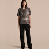 Burberry Short-sleeved Check Cotton Pyjama-style Shirt
