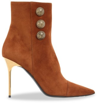 Balmain Roni Point-Toe Suede Booties