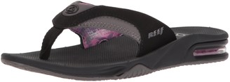 Reef Women's Sandals Fanning | Bottle Opener Flip Flops with Arch Support for Women | Black/Grey | Size 8