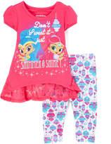 Children's Apparel Network Shimmer & Shine Magenta Hi-LowTop & Leggings - Toddler & Girls