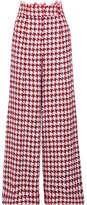 Oscar de la Renta Houndstooth Cotton-blend Tweed Wide-leg Pants - Red