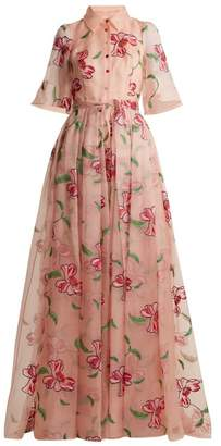 Carolina Herrera Floral-embroidered Silk Gown - Womens - Pink Multi