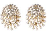 Natasha Accessories Rhinestone Faux Pearl Burst Earrings