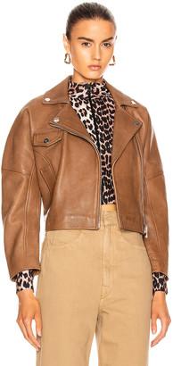 Ganni Grain Leather Jacket in Tannin | FWRD