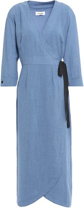 Cefinn Grosgrain-trimmed Voile Wrap Midi Dress