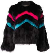 Matthew Williamson Rainbow Black Fox Fur Jacket