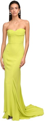 ATTICO The Georgette Strapless Bustier Gown Dress