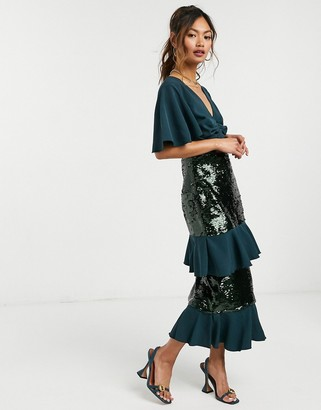 Virgos Lounge sequin midi dress with tiering in forrest green