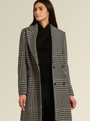 DKNY Donna Karan Women's Double-breasted Glen Plaid Coat - Black/White/Grey - Size 16