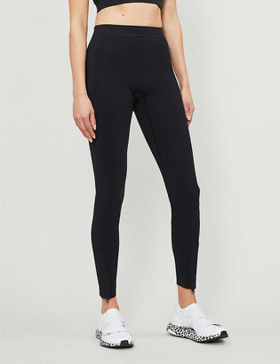 Reebok x Victoria Beckham Branded mid-rise stretch-shell leggings