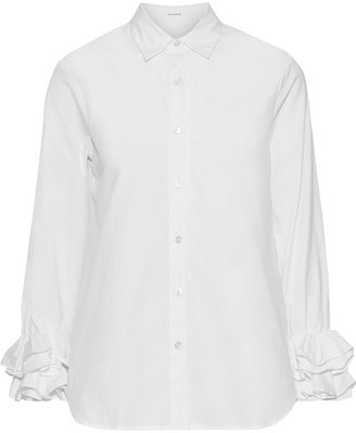 Stateside Ruffle-trimmed Cotton-poplin Shirt