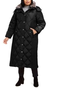 London Fog Plus Size Maxi Puffer Coat With Faux-Fur Trim