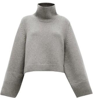 KHAITE Marion High-neck Split-cuff Cashmere Sweater - Grey