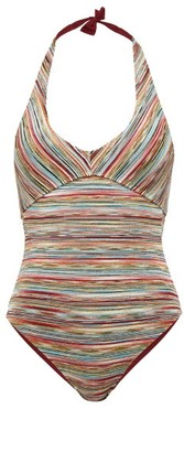 Missoni Mare - Halterneck Striped-lame Swimsuit - Multi