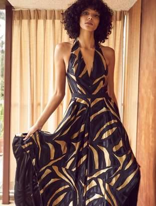 Halston Metallic Combo Handkerchief Skirt Gown