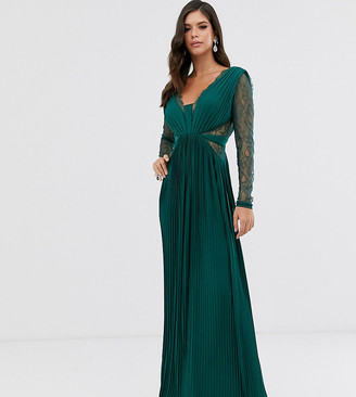 Asos Tall DESIGN Tall lace and pleat long sleeve maxi dress-Green